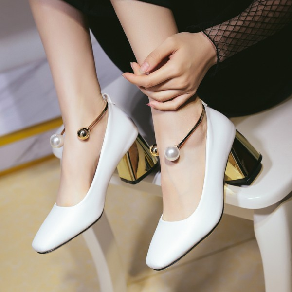 White Ankle Strap Heels Cute Block Heel Pumps with Pearls image 1