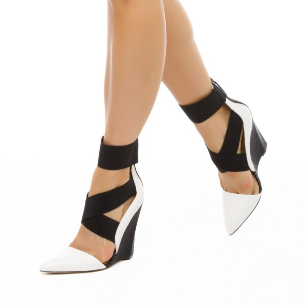 Black and White Closed Toe Wedges Cross over Strap Pumps image 1