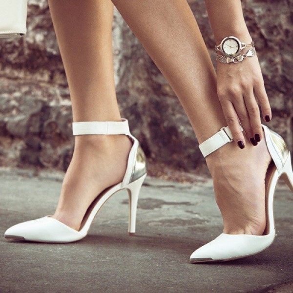 White Ankle Strap Heels Pointy Toe Stiletto Heel Pumps image 1