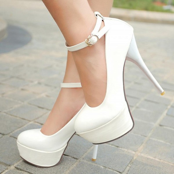 Women's White Ankle Strap Buckle Stiletto Heels Pumps Shoes image 1