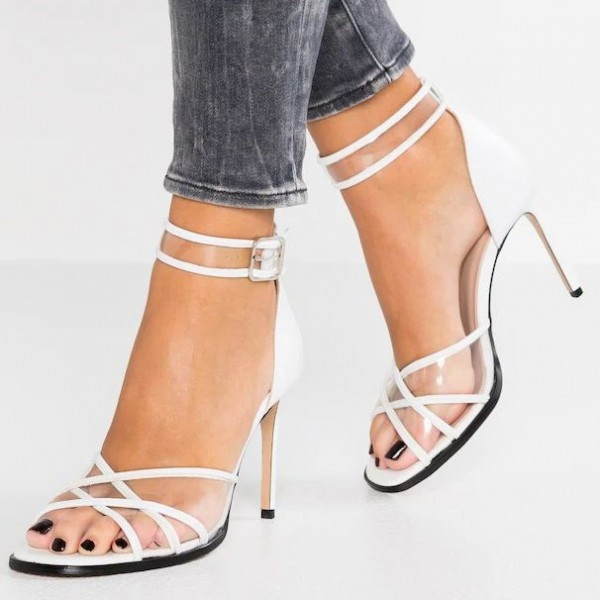 look out for lowest discount authentic quality White Ankle Strap Sandals Clear PVC Stiletto Heel Sandals