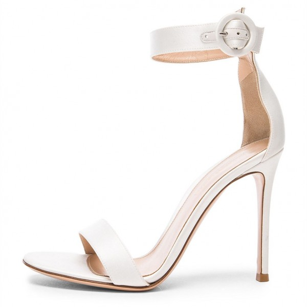 White Satin Wedding Heels Stilettos Ankle Strap Sandals image 1