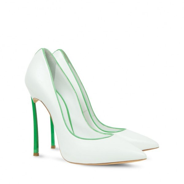 White and Green 5 Inches Stiletto Heels Pointy Toe Office Heels Pumps image 2