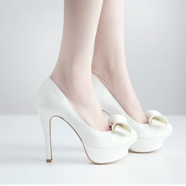 Women's Lillian White Platform Bows Stiletto Heel Pumps Bridal Heels image 2