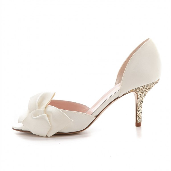 Ivory Satin Low Heel Wedding Shoes Peep Toe Glitter Bow Pumps image 2
