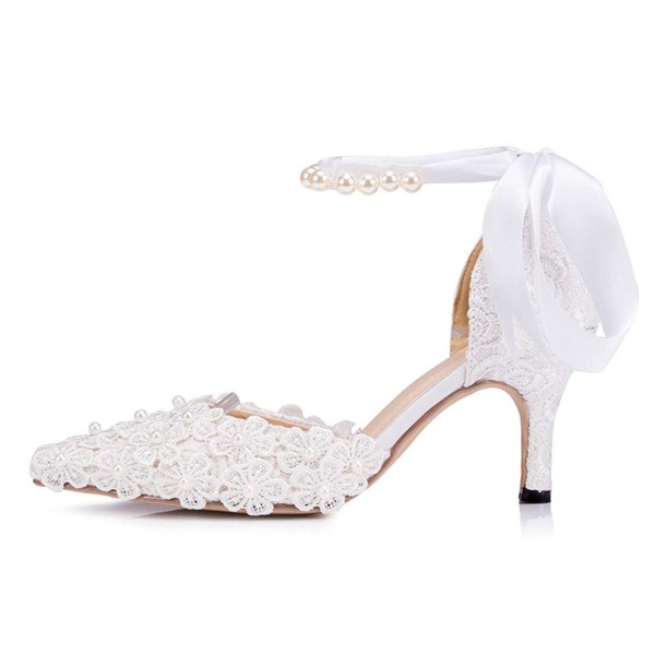 White Bridal Shoes Closed Toe Ankle Strap Lace Heels for Wedding image 4