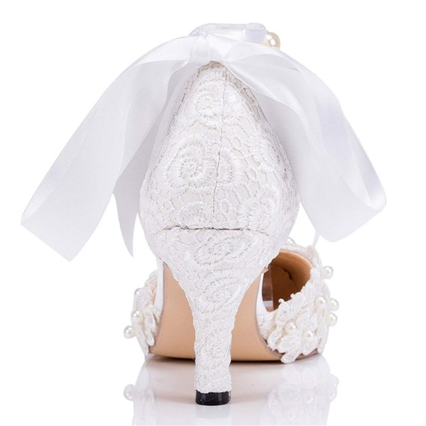 White Bridal Shoes Closed Toe Ankle Strap Lace Heels for Wedding image 3