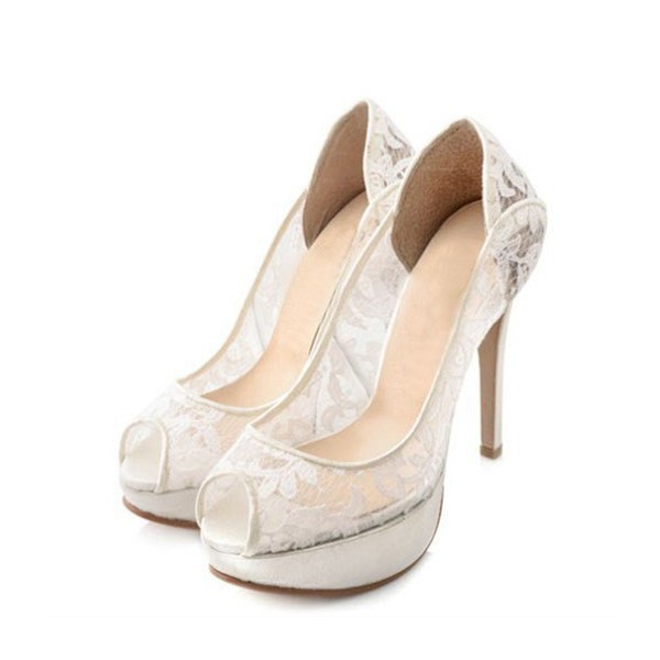 White Bridal Shoes Platform Peep Toe Pumps Lace Heels for Wedding image 1