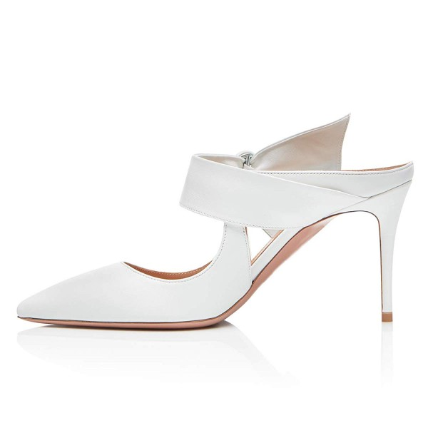White Mule Heels Buckled Pointy Toe Stilettos Wedding Shoes image 2