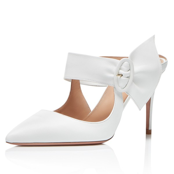 White Mule Heels Buckled Pointy Toe Stilettos Wedding Shoes image 1