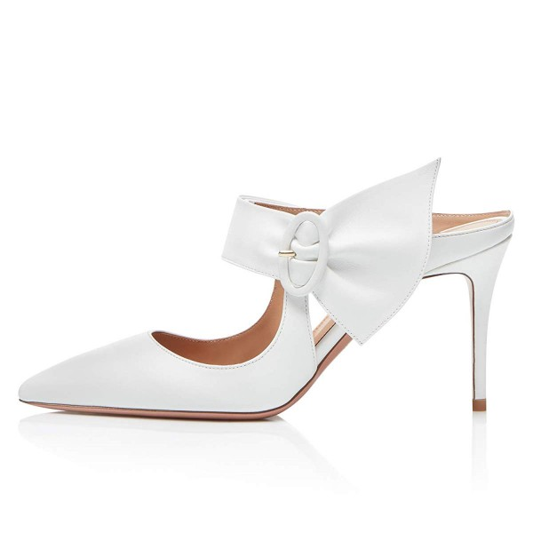 White Mule Heels Buckled Pointy Toe Stilettos Wedding Shoes image 3