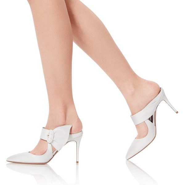 White Mule Heels Buckled Pointy Toe Stilettos Wedding Shoes image 4