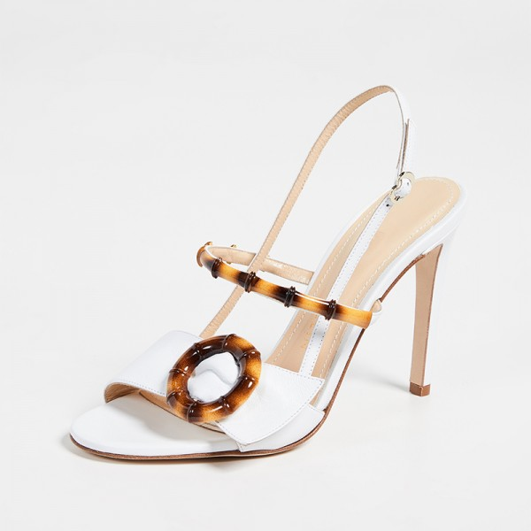 White Buckle Slingback Heels Sandals image 1