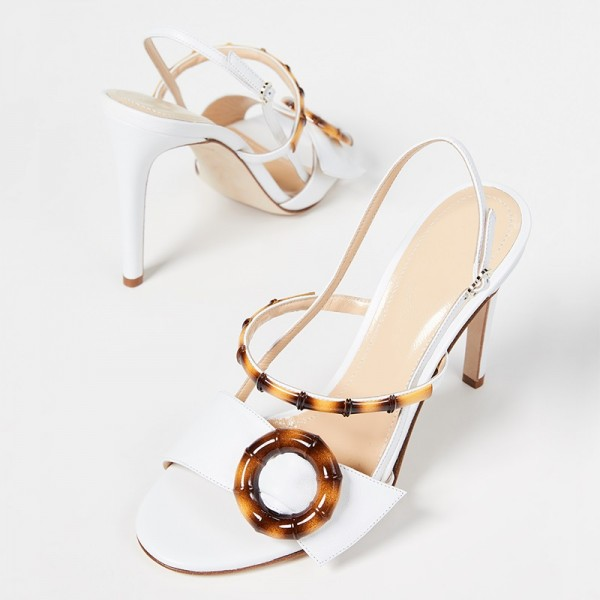 White Buckle Slingback Heels Sandals image 3