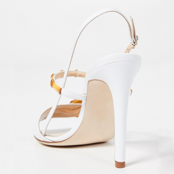 White Buckle Slingback Heels Sandals image 4