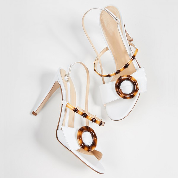 White Buckle Slingback Heels Sandals image 5