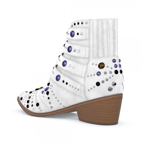 White Buckles Rhinestone Studs Fashion Boots Block Heel Ankle Boots image 2