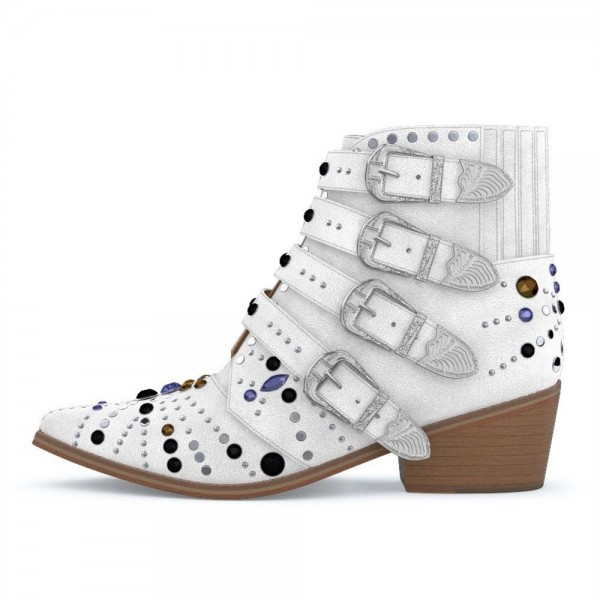 White Buckles Rhinestone Studs Fashion Boots Block Heel Ankle Boots image 3