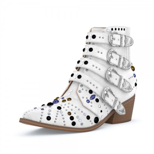 White Buckles Rhinestone Studs Fashion Boots Block Heel Ankle Boots image 1
