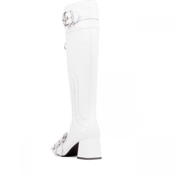 White Buckles Square Toe Block Heels Long Boots Zipper Knee High Boots image 2