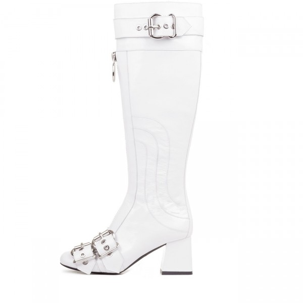 White Buckles Square Toe Block Heels Long Boots Zipper Knee High Boots image 3
