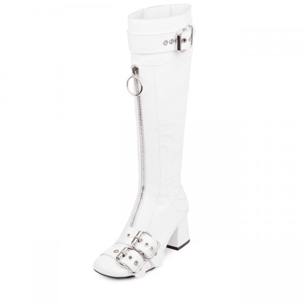 White Buckles Square Toe Block Heels Long Boots Zipper Knee High Boots image 1