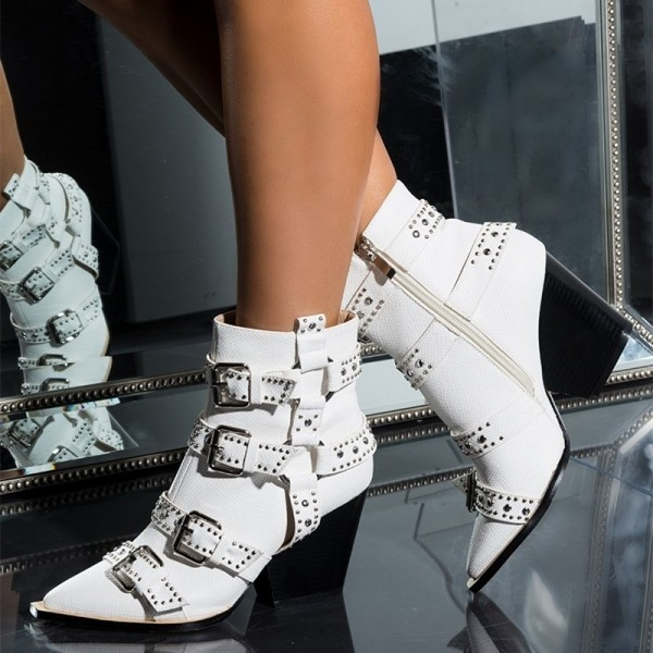 White Buckles Studded Boots Fashion Boots Block Heel Ankle Boots image 1