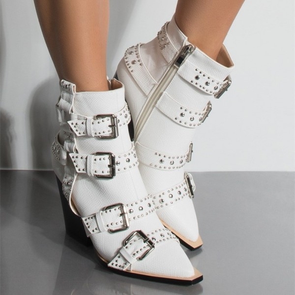 White Buckles Studded Boots Fashion Boots Block Heel Ankle Boots image 2