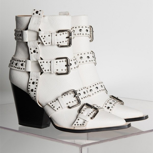 White Buckles Studded Boots Fashion Boots Block Heel Ankle Boots image 3