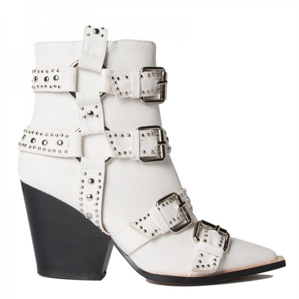 White Buckles Studded Boots Fashion Boots Block Heel Ankle Boots image 4