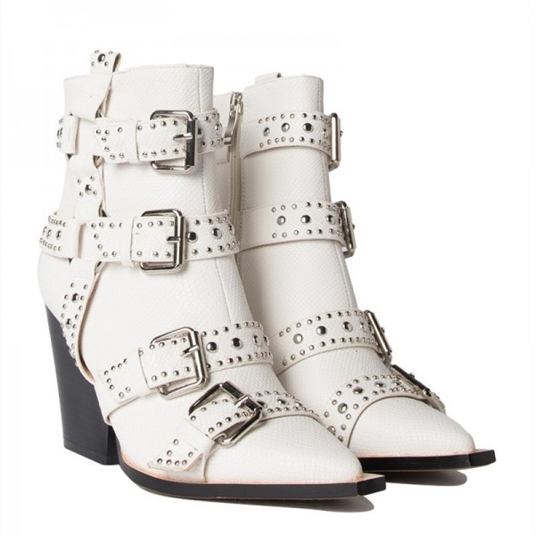White Buckles Studded Boots Fashion Boots Block Heel Ankle Boots image 5