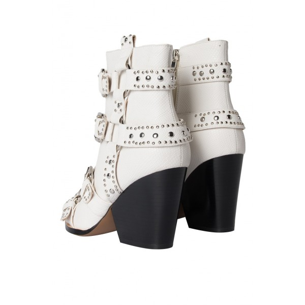 White Buckles Studded Boots Fashion Boots Block Heel Ankle Boots image 6