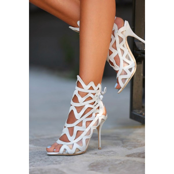 Women's White Slingback Heels Hollow out Caged Sandals Stiletto Heels image 3