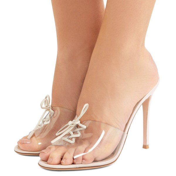 Transparent Stiletto Heel Clear Shoes Peep Toe Lace up Mule Heels image 4