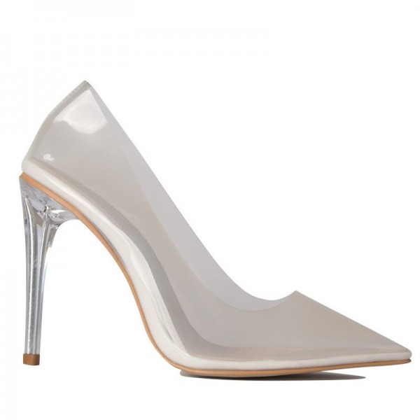 White See Through Clear Shoes Pointy Toe Perspex Stiletto Heel Pumps image 2