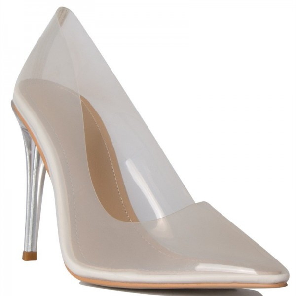 White See Through Clear Shoes Pointy Toe Perspex Stiletto Heel Pumps