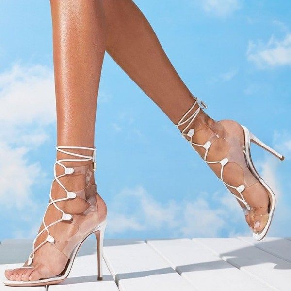 White Clear Heels PVC Lace Up Stiletto