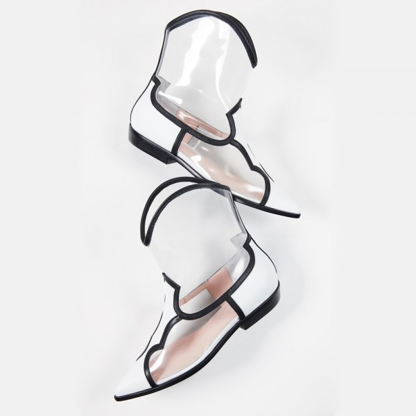 White Clear PVC Western Boots Flat Ankle Boots image 3