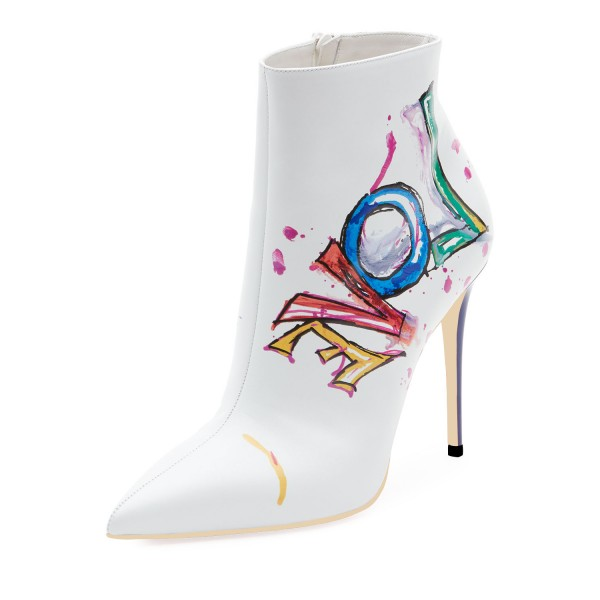 White Colorful Doodles Stiletto Heel Ankle Booties image 1