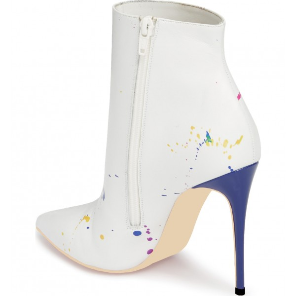 White Colorful Doodles Stiletto Heel Ankle Booties image 2