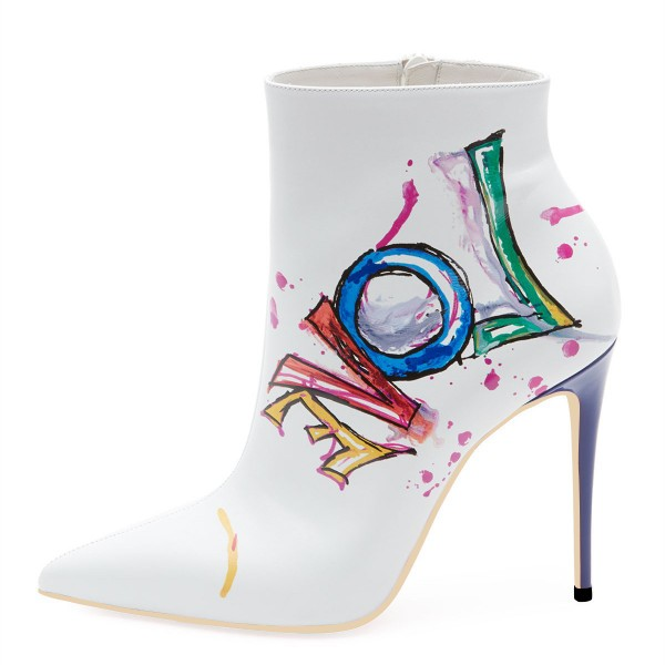 White Colorful Doodles Stiletto Heel Ankle Booties image 5