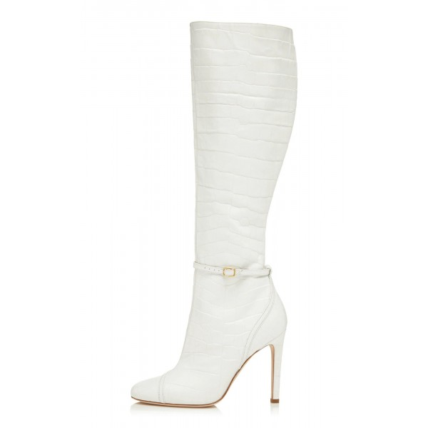 Women's White Croc Vegan Leather Knee Boots with Buckle image 1