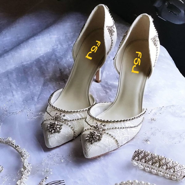 Lace Ivory Wedding Shoes Rhinestone Low Heel Bridal Shoes image 2