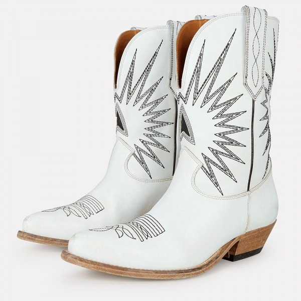 White Embroider Cowgirl Boots Block Heel Mid Calf Boots image 1