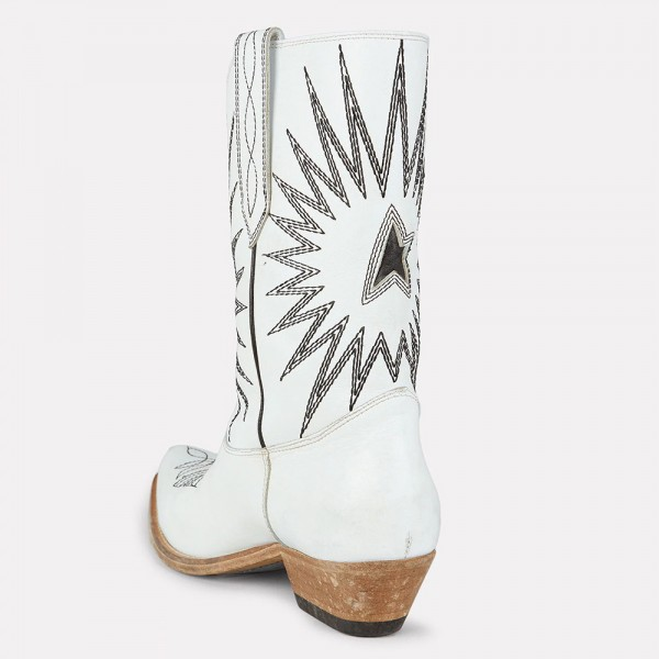 White Embroider Cowgirl Boots Block Heel Mid Calf Boots image 4