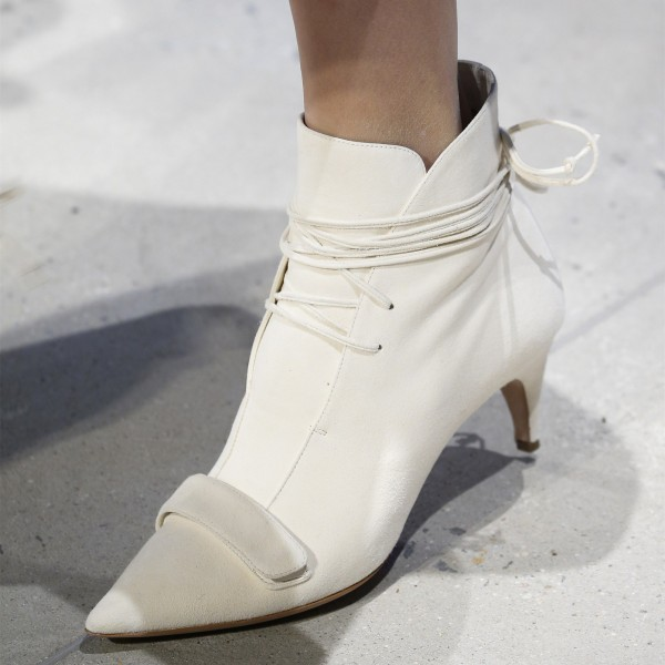 White Fashion Boots Kitten Heel Pointy Toe Strappy Ankle Booties image 1