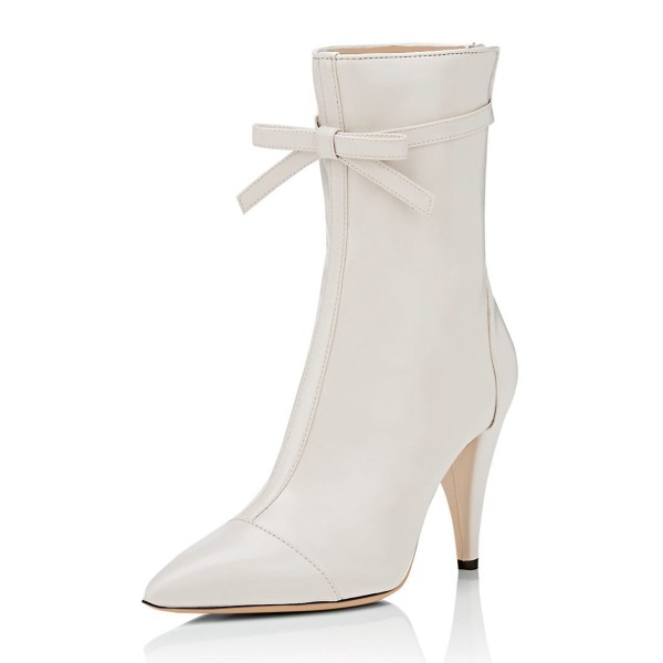 Ivory Fashion Boots Pointy Toe Cone Heel Bow Mid Calf Boots image 1