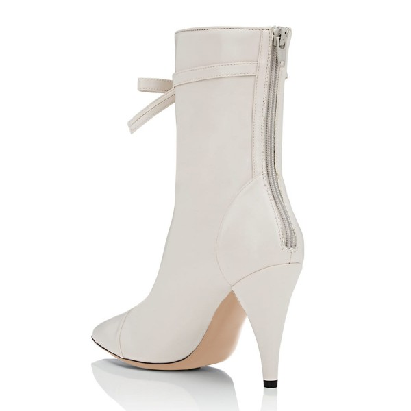 Ivory Fashion Boots Pointy Toe Cone Heel Bow Mid Calf Boots image 4