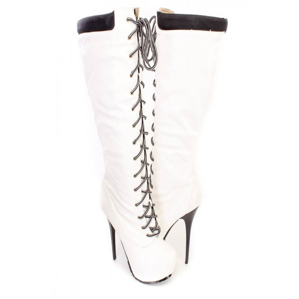 White fashion Lace Up Stiletto Heels Knee High Platform Long Boots image 2