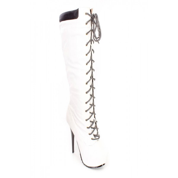 White fashion Lace Up Stiletto Heels Knee High Platform Long Boots image 3